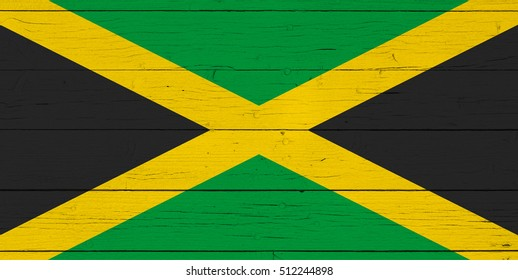 Flag of Jamaica on wooden background
