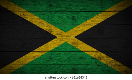 Flag of Jamaica Painted on old wood boards. wooden Jamaica flag. Abstract flag background for your text or logo. grunge Jamaican flag.