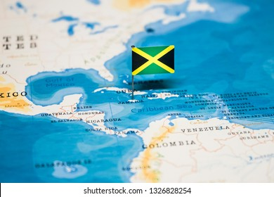 the Flag of jamaica in the world map