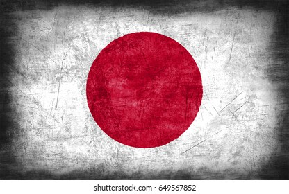 Flag of Japan, with grunge metal texture