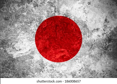flag of Japan or Japanese banner on vintage metal texture