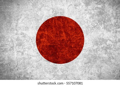 flag of Japan or Japanese banner on scratched vintage texture