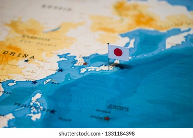 the Flag of japan on the cities in the world map