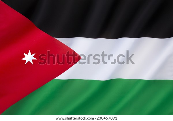 Flag of Jordan - adopted on 18th April 1928. Based on the flag of the Arab Revolt. The seven-pointed star stands for the seven verses of the first surah in the Koran.