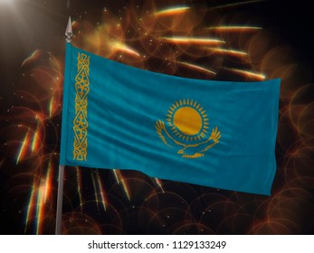 Flag of Kazakhstan with fireworks display in the background
