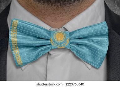 Flag of Kazakhstan on bowtie business man suit