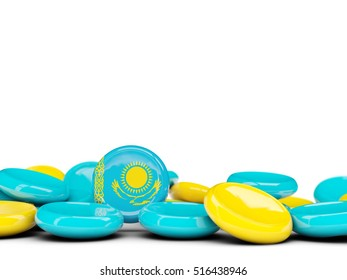 Flag of kazakhstan, round buttons isolated on white. 3D illustration