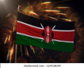 Flag of Kenya with fireworks display in the background