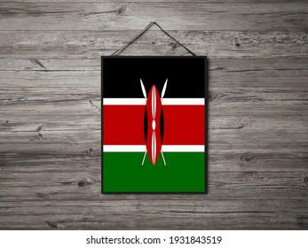 Flag of Kenya Hanging on wall. Kenya Flag for advertising, award, achievement, festival, election.