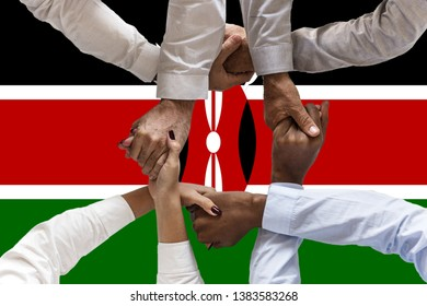 Flag of Kenya, intergration of a multicultural group of young people