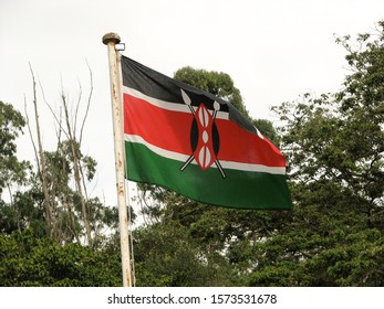 Flag of Kenya with  Masai Shield and Crossed Spears