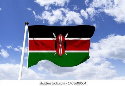 Flag of Kenya model, has as symbol a shield crossed by two spears, which represents the culture of the warrior people. Maasai, ethnic group with strong presence in the country of the African continent
