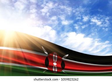 flag of Kenya in the sun