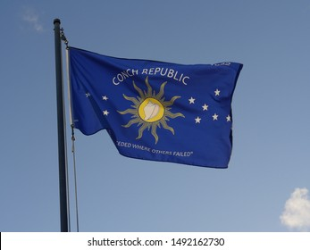 Flag of Key West, Florida, flying out from a pole