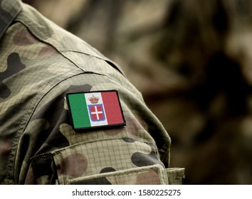 Flag of Kingdom of Italy (1861-1946) on military uniform. Army, soldiers, history. Collage.