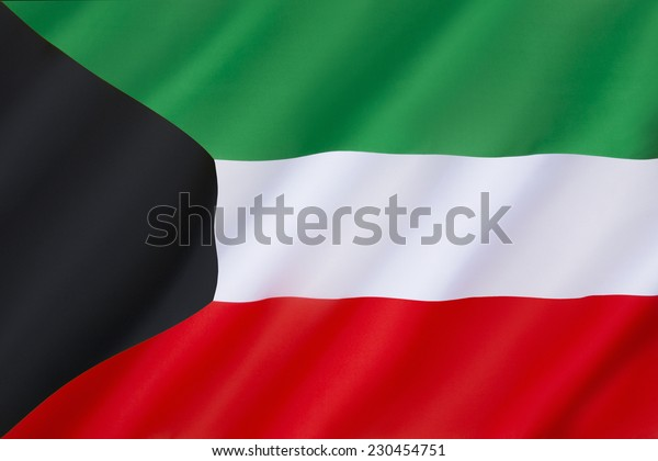 Flag of Kuwait - The civil and state flag and national ensign. Adopted on 7th September 1961.