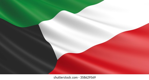 Flag of Kuwait waving in the wind.