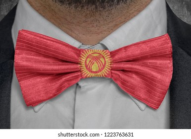 Flag of Kyrgyzstan on bowtie business man suit