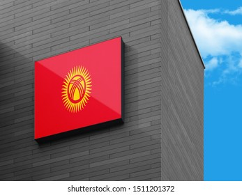 Flag of Kyrgyzstan on Signage Board. Kyrgyzstan Flag on building Signage Board.