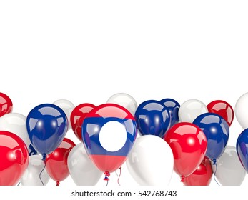 Flag of laos, with balloons isolated on white. 3D illustration