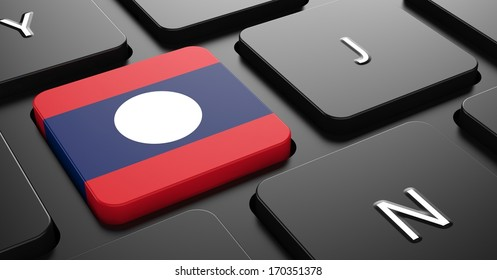 Flag of Laos - Button on Black Computer Keyboard.