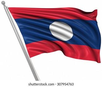 Flag of Laos , This is a computer generated and 3d rendered image.