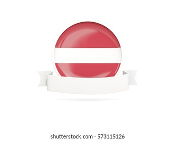 Flag of latvia with empty banner  isolated on white. 3D illustration