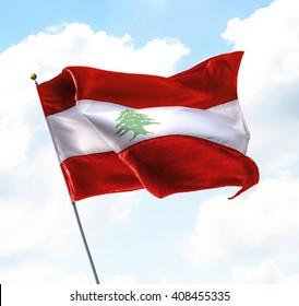 Flag of Lebanon Raised Up in The Sky