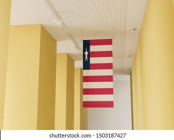Flag of Liberia hanging in gallery. Liberia Flag displayed in gallery.