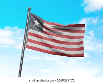 Flag of Liberia on Flag Pole in Blue Sky. Liberia Flag for advertising, celebration, achievement, festival, election. The symbol of the state on wavy cotton fabric.