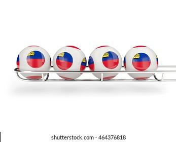 Flag of liechtenstein on lottery balls. 3D illustration