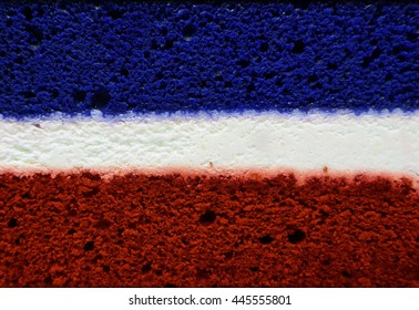 Flag like Blue and red cake with white center filling texture