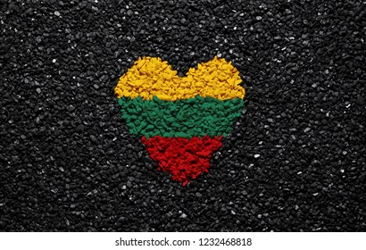 Flag of Lithuania, Lithuanian flag, heart on the black background, stones, gravel and shingle, wallpaper