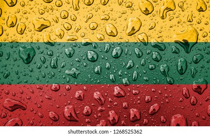 Flag of Lithuania on a metallic background. Lithuanian flag with rain droplets