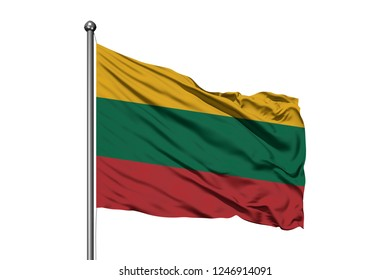 Flag of Lithuania waving in the wind, isolated white background. Lithuanian flag.