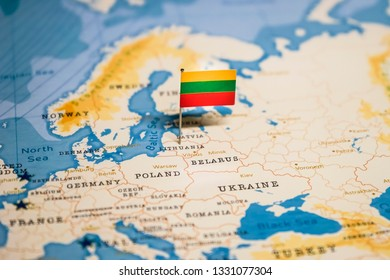 the Flag of lithuania in the world map