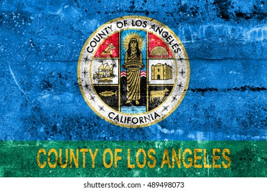 Flag of Los Angeles County, California, USA, painted on dirty wall