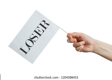 A flag with LOSER sign in hand. The man holds a white flag with the inscription LOSER in his hand isolated on a white background. Concept of loser, failure of victory.
