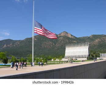 Flag lowered to Half Staff at an military base.