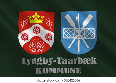 Flag of Lyngby-Taarbek is a municipality in Region Hovedstaden of Denmark. 3d illustration