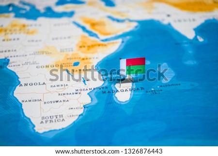 Flag Madagascar World Map Stock Photo (Edit Now) 1326876443 ...