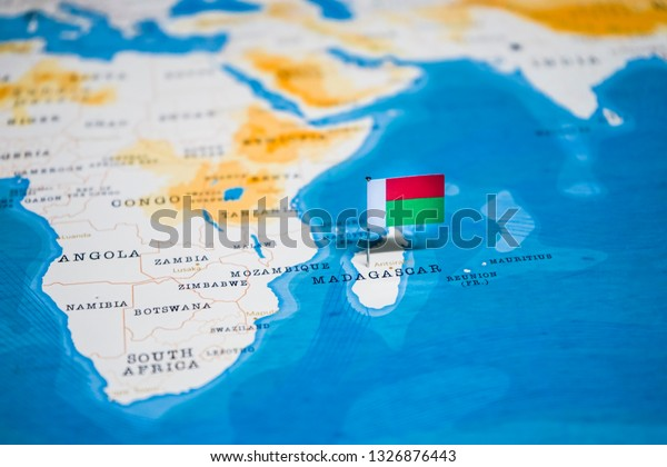 Flag Madagascar World Map | Royalty-Free Stock Image
