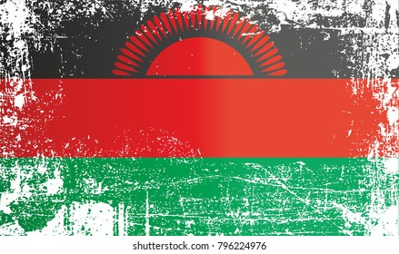 Flag of Malawi, Africa. Wrinkled dirty spots. Can be used for design, stickers, souvenirs