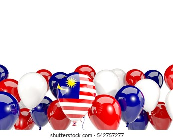 Flag of malaysia, with balloons isolated on white. 3D illustration