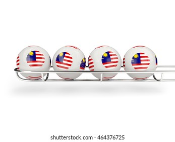 Flag of malaysia on lottery balls. 3D illustration