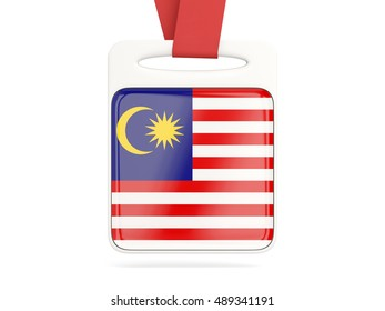 Flag of malaysia, square card with red ribbon. 3D illustration