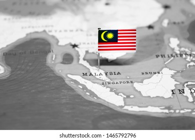 The Flag of Malaysia in the World Map