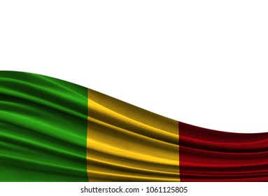 flag of Mali isolated on white background with place for your text.