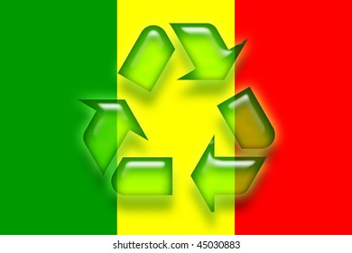 Flag of Mali, national country symbol illustration eco recycling