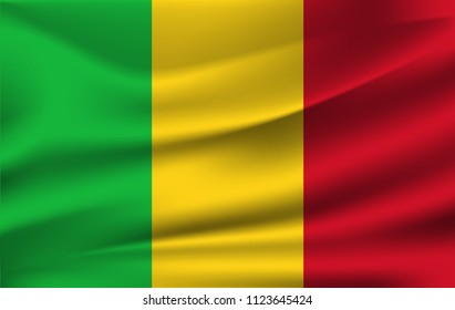 Flag of Mali. Realistic waving flag of Republic of Mali. Fabric textured flowing flag of Mali.
